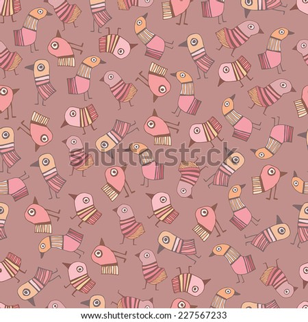 Cute seamless pattern with birds - stock vector