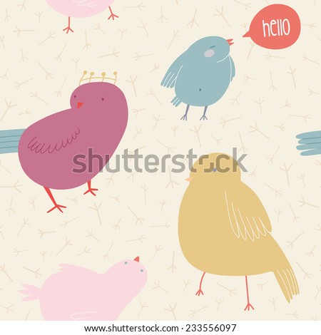 """Cute seamless pattern with birds in pastel colors. Lovely birds background in cartoon style. Cute background for kids with birds and """"Hello"""" speech bubble - stock vector"""