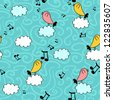 Cute seamless pattern with birds on clouds - stock vector