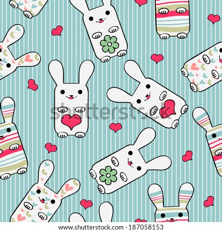 Cute seamless pattern with bunnies - stock vector