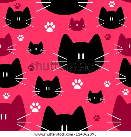 Cute seamless pattern with cat faces - stock vector