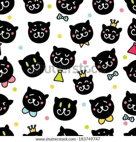 Cute seamless pattern with cats. - stock vector