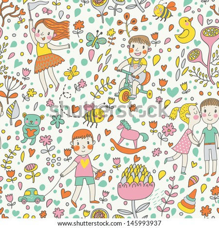 Cute seamless pattern with children in the garden. Playing kids with toys. Vector background with cartoon boys and girls with flowers. - stock vector