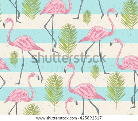 Cute seamless pattern with flamingos and palm. Vector background with birds. - stock vector