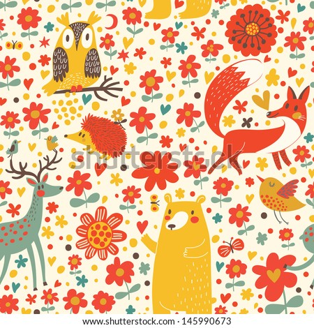Cute seamless pattern with forest animals: bear, fox, deer, hedgehog, owl, bird. Funny animals  childish design. Happy birthday card. - stock vector