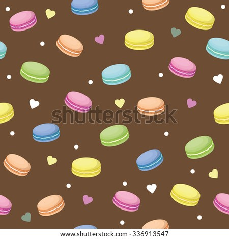 Cute seamless pattern with macaroons and hearts. Vector background. French sweets. Colorful macaroon. Vector texture of chocolate raspberry strawberry vanilla pistachio macaroons. Brown pattern. - stock vector