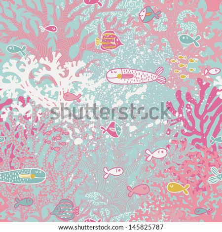 Cute seamless pattern with small fishes and corals. Vector background with pink coral reef, diving illustration. - stock vector