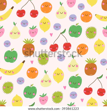 Cute seamless pattern with smiley fruits in cartoon style. Cute and funny texture with fruit characters for kids. Smiley Apple Lemon Berries Kiwi Pineapple Strawberry Orange Pear Cherry and Banana - stock vector