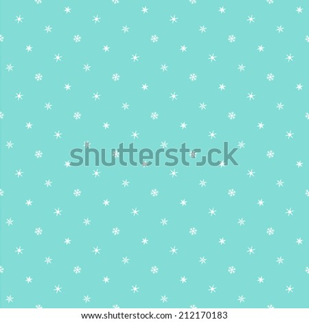 Cute seamless polka dot pattern with tiny snowflakes - stock vector