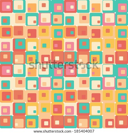 Cute seamless retro pattern of squares. Seamless background - stock vector
