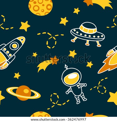Cute seamless vector pattern with lovely astronauts, comets, stars, planets,moon and rockets. Kids colorful wallpapers, hand drawn funny background. - stock vector