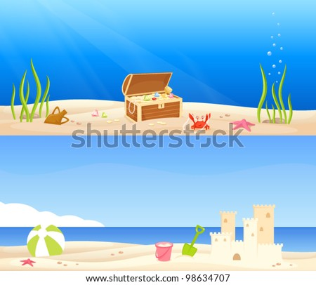 cute seaside banners for children - a treasure chest at the bottom of the sea and a beach scene with a sand castle and kids toys - stock vector