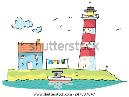 cute seaside house near lighthouse - cartoon - stock vector