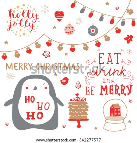 Cute set for decoration gifts, scrapbook, decorations for Christmas and New Year party. Hand lettering quote Merry Christmas, eat, drink and be merry, ho ho ho. - stock vector