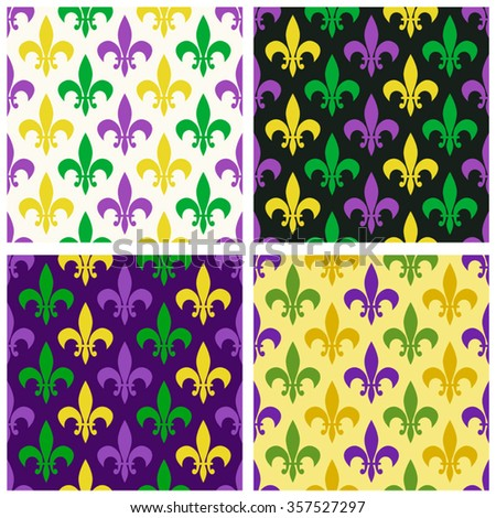 Cute set of Mardi Gras patterns with fleur de lis in traditional colors - stock vector
