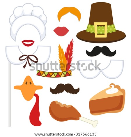 Cute set of Thanksgiving photo booth props! Grab a prop and strike a pose! - stock vector