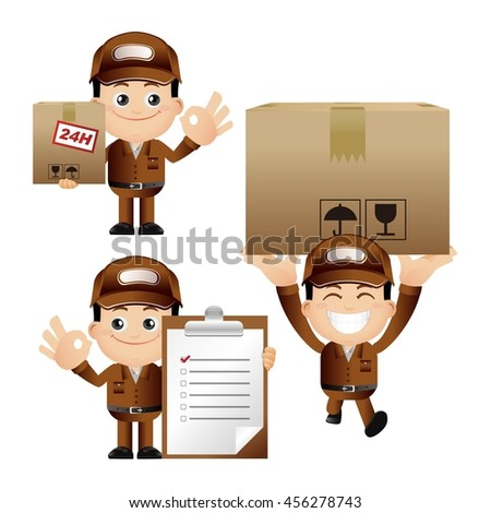 Cute Set - Set of delivery person - stock vector