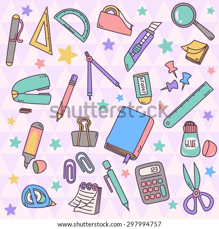 Cute set vector of stationery in pastel color. The stuffs included: book, pencil, pen, scissors, calculator, notes, paper clips, ruler, glue, sticky notes, stapler, cutter, eraser, marker - stock vector