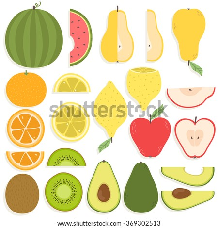 cute set with cartoon lemon, pear, oranges, apples, watermelon, avocado, kiwi on white background. can be used for greeting cards, party invitations or like stickers - stock vector