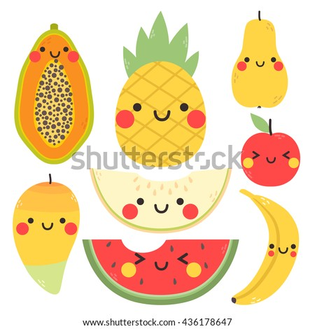 cute set with cartoon mango, pear, apple, banana, pineapple, papaya, watermelon and melon with funny faces on white background. can be used for greeting cards, party invitations or stickers - stock vector