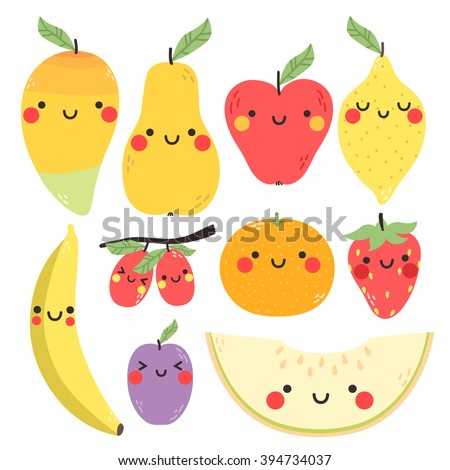 cute set with cartoon mango, pear, apple, lemon, banana, plum, orange, strawberry and melon with funny faces on white background. can be used for greeting cards, party invitations or like stickers - stock vector