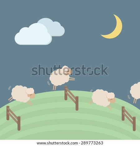 Cute sheep vector illustration for sleep concept, EPS10 - stock vector