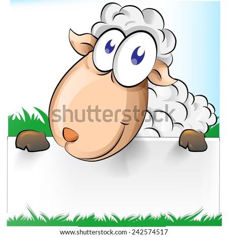 cute shep cartoon with  white banner - stock vector