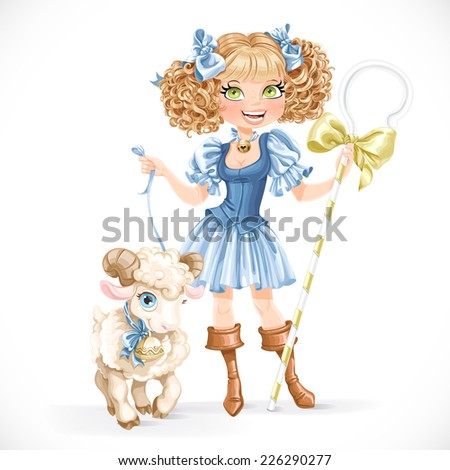 Cute shepherdess with lamb isolated on a white background - stock vector