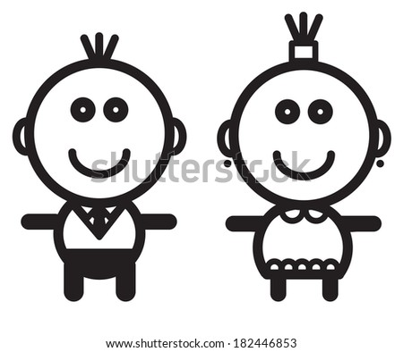 Cute simple black and white - stock vector