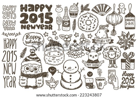 Cute sketch doodle Happy New Year set with santa claus, deer, goat, sheep, Chinese lantern, cacao, tree, gift, owl, snowman, socks, fan, mandarin, flower, berry, Sale tag - stock vector