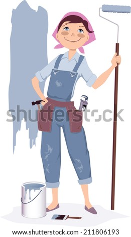 Cute smiling cartoon woman in overalls standing with a painter's roller and a can of paint, vector illustration, no transparencies  - stock vector