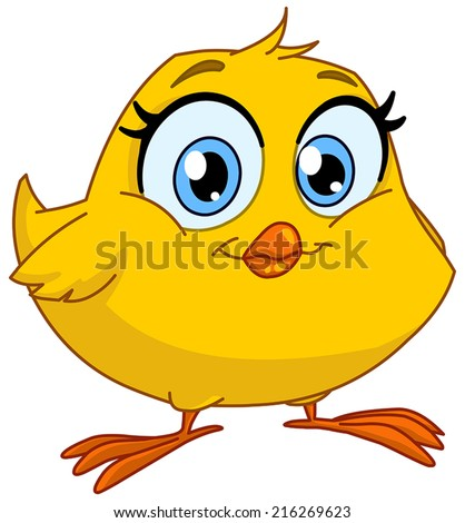 Cute smiling chick - stock vector