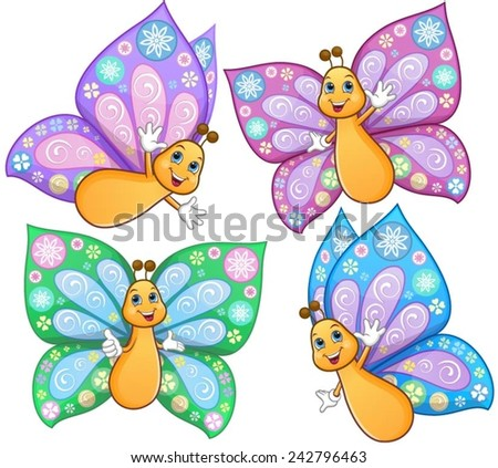 Cute, smiling, colourful butterflies, in different poses. - stock vector