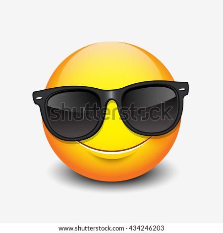 Cute smiling emoticon wearing black sunglasses, emoji, smiley - vector illustration - stock vector
