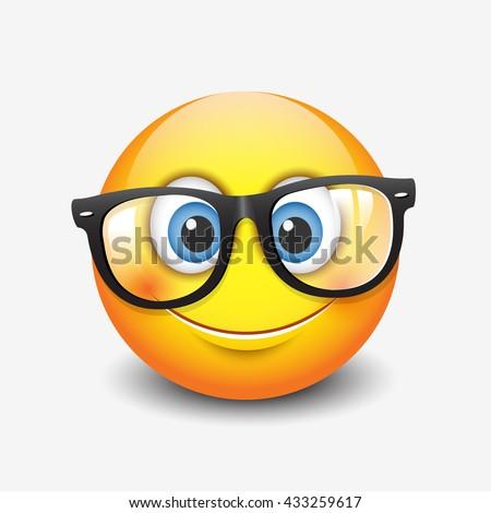 Cute smiling emoticon wearing eyeglasses, emoji, smiley - vector illustration - stock vector
