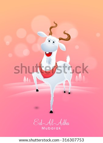 Cute smiling goat on shiny nature view background for Islamic Festival of Sacrifice, Eid-Al-Adha celebration. - stock vector