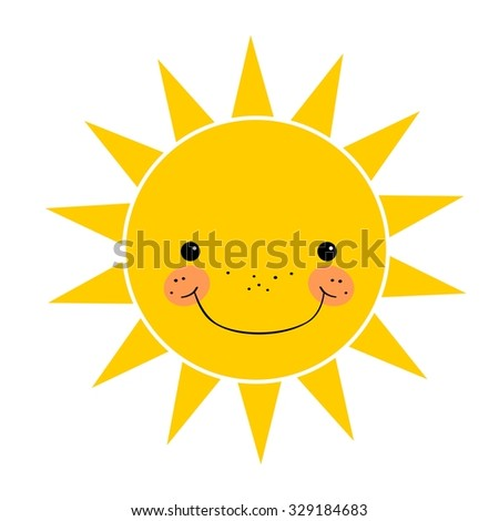 Cute smiling sun isolated on white background - stock vector
