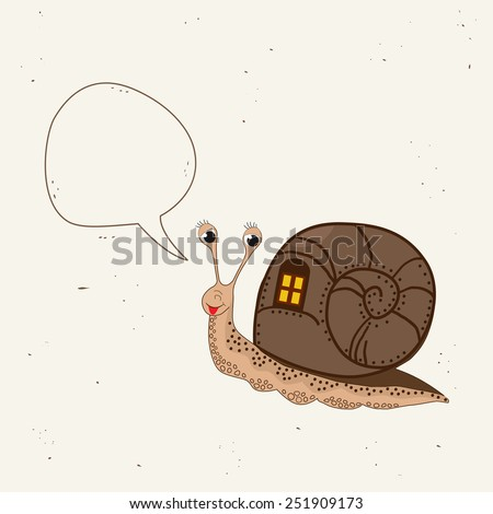 Cute snail with speech bubble - stock vector