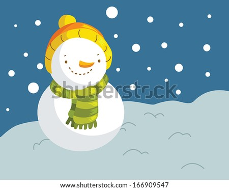 Cute snowman and winter background - stock vector