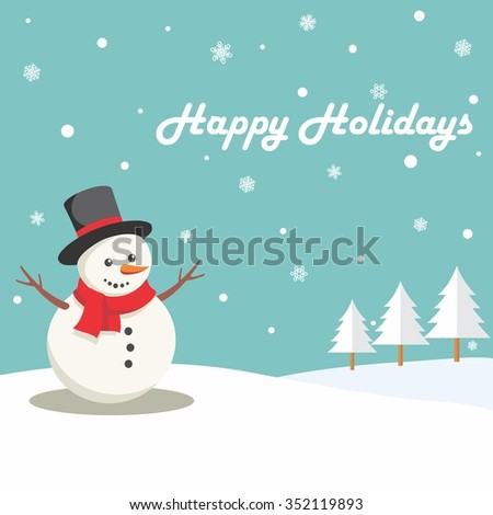 Cute Snowman in Winter with Frozen Pine Tree - stock vector