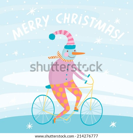 Cute snowman on bicycle in cartoon style. Adorable Christmas character. Merry Christmas concept card. - stock vector