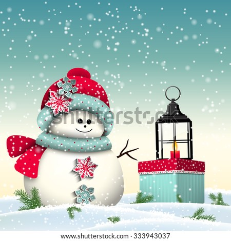 Cute snowman with colorful present and vintage lantern, christmas winter theme, vector illustration, eps 10 with transparency and gradient meshes - stock vector