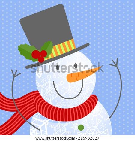 Cute snowmen portrait. Vector illustrations. - stock vector