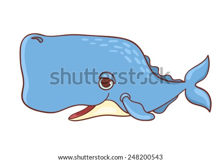 Cute sperm-whale isolated on white. Vector cartoon illustration. - stock vector