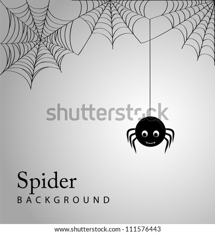 Cute spider and webs over gray background - stock vector