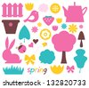 Cute spring and easter colorful design elements isolated on white - stock vector