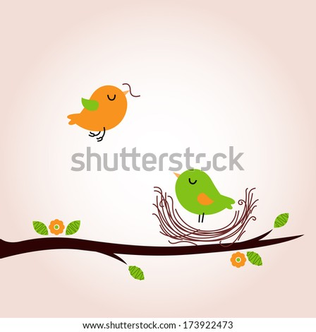 Cute spring birds building nest - stock vector