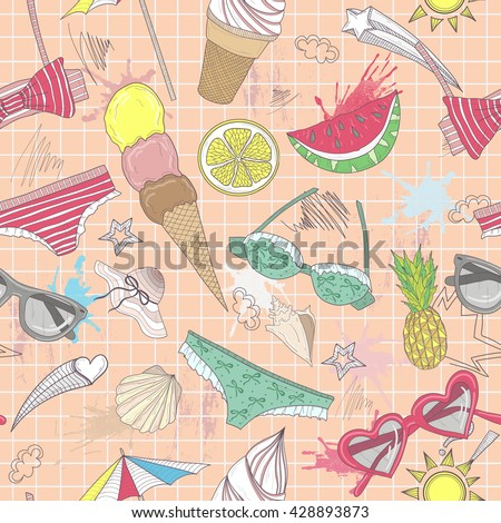 Cute summer abstract pattern. Seamless pattern with swimsuits, sunglasses, suns, ice creams, and seashells . Fun pattern for children or teenager girls.summer set - stock vector