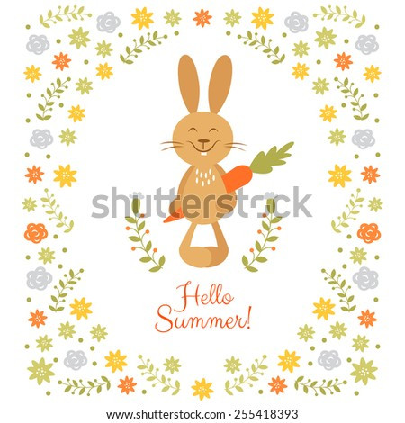 Cute summer frame with little rabbit - stock vector