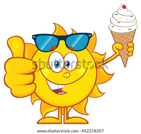 Cute Sun Cartoon Mascot Character With Sunglasses Holding A Ice Cream Showing Thumb Up. Vector Illustration Isolated On White Background - stock vector
